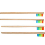 Wooden Rainbow Bamboo Toothbrush 4 pack - Trekmor