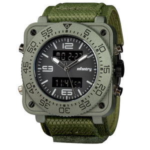 Military Men's Square Digital/Analog LED Wristwatch - Trekmor