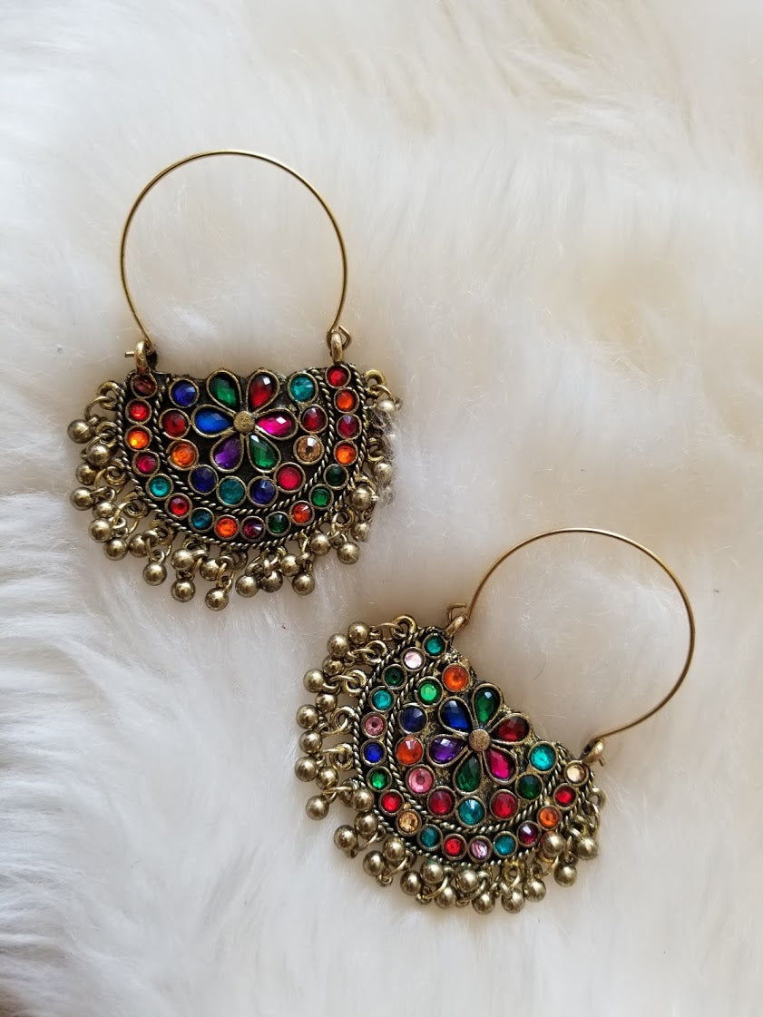 Gold Afghani Tribal Multi-Color Stone Earrings