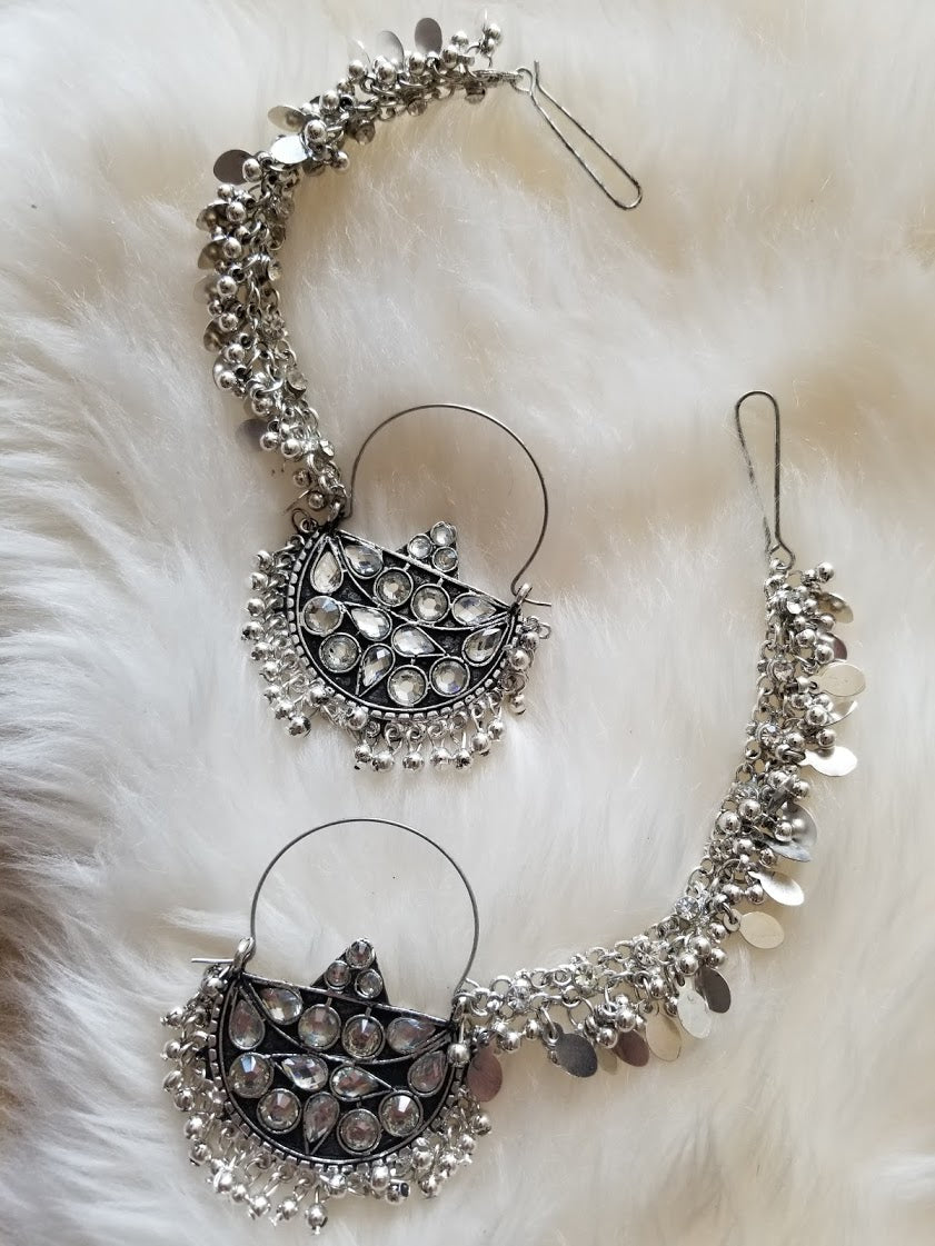 Oxidized Silver Beaded Chandbali Hoop Earrings