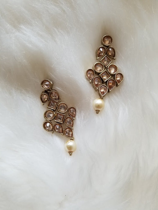 Champagne Color Kundun Inspired Dangling Earring