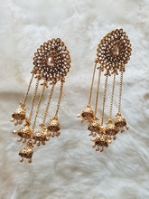 Dark Champagne Stone Earrings with Bells