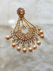 Jhoomar with Dangling Crystal & Pink Pearls