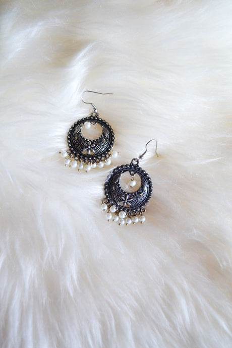 Black Hoop with White Pearls