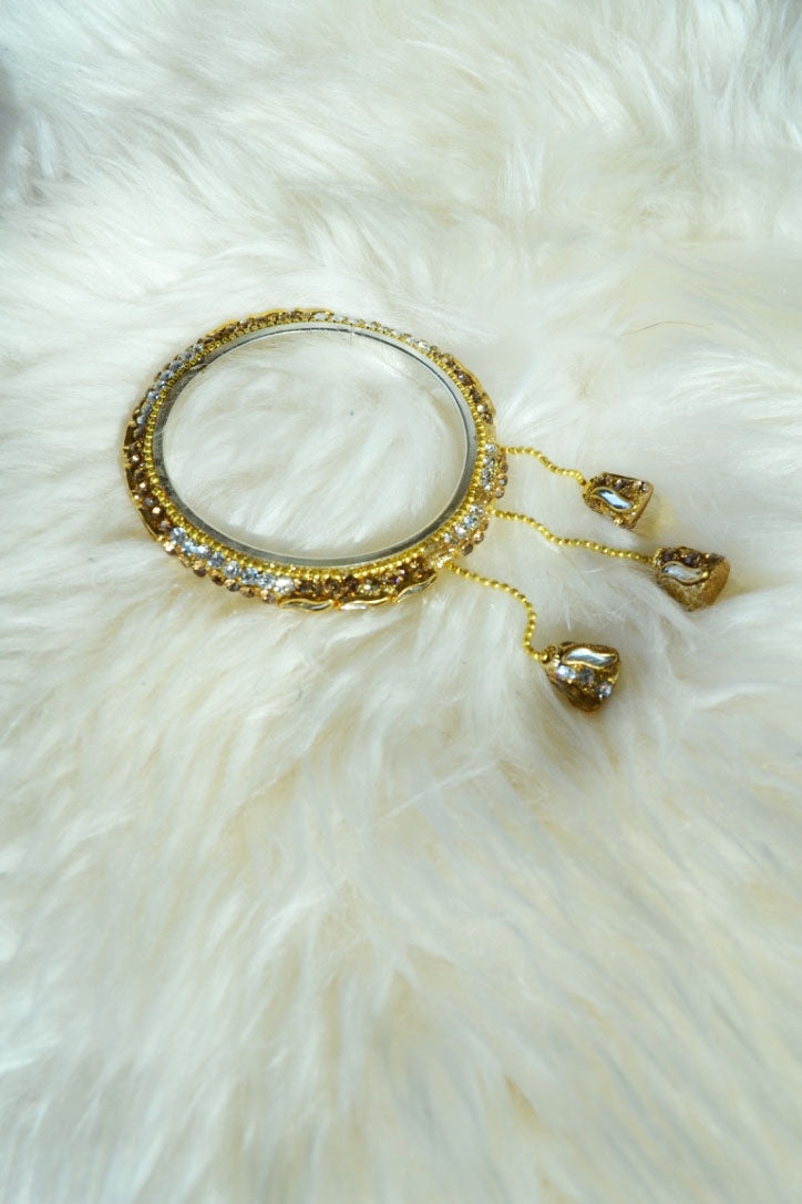 Sparkly Gold Bangle with Bell