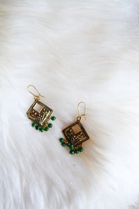Gold Earrings with Green Beads