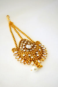 Gold Tikka with Clear Rhinestone