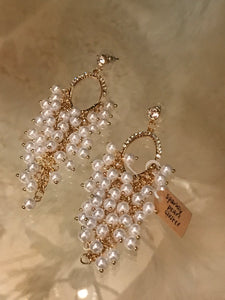 Sparkly Pearl Custer Earrings