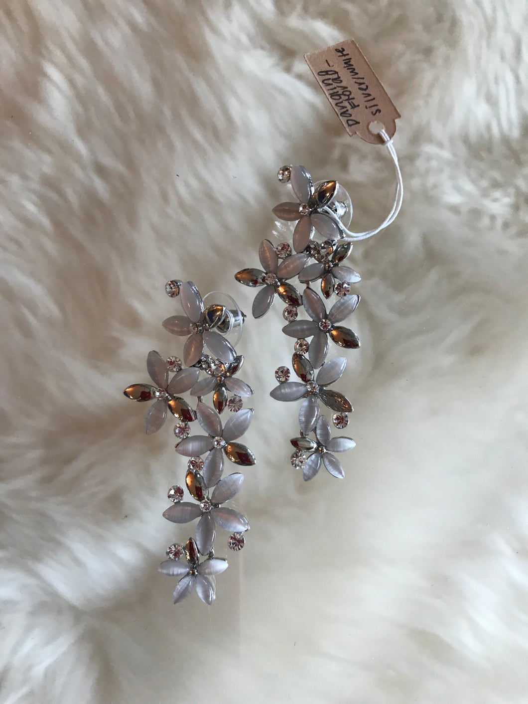 Dangling Floral - Silver and White