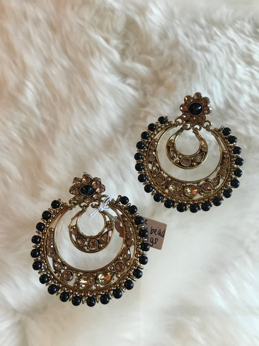 Circle Black Bead Earrings
