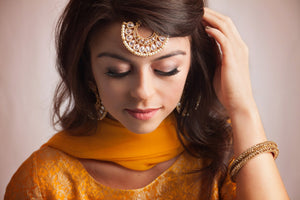 Gold Tikka with White Beads and Crystal