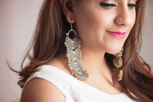 Silver Chandbali Earrings with Gold Beads