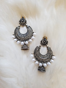 Silver Hoop with White Pearls and Jhumka
