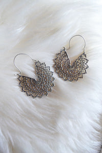 Silver Spiderweb Hoops