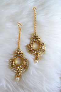 Kundun and White Pearl Chanbali Strand Earrings