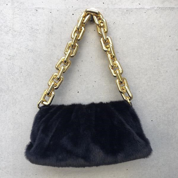 eco fur big chain bag black