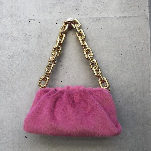 eco fur big chain bag Pink