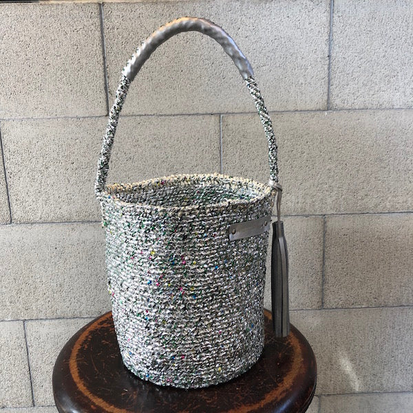 meong blue sisal bag silver mix one shoulder(RUKAカスタマイズ価格)