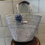 meong blue sisal bag silver mix shoulder bag (RUKAカスタマイズ価格)