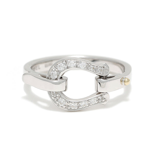 SYMPATHY OF SOUL Horseshoe Band Ring - Silver w/CZ