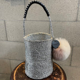 meong blue sisal bag platina silver one shoulder 01