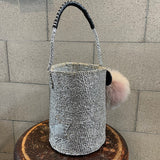 meong blue sisal bag platina silver one shoulder 02