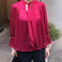 alice+olivia DANIKA TIE MINI STRIPE SHIRT