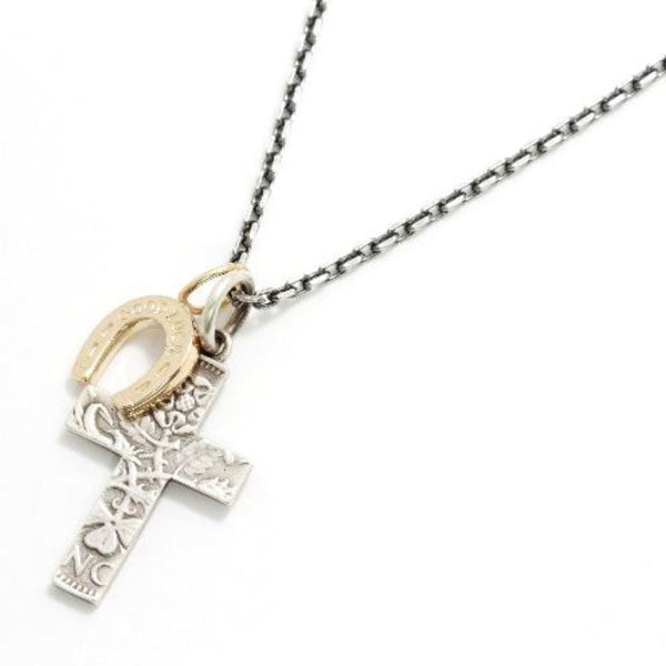 SYMPATHY OF SOUL 1960's Sixpence Large Cross Necklace w/GOOD LUCK Horseshoe 2019X'mas限定