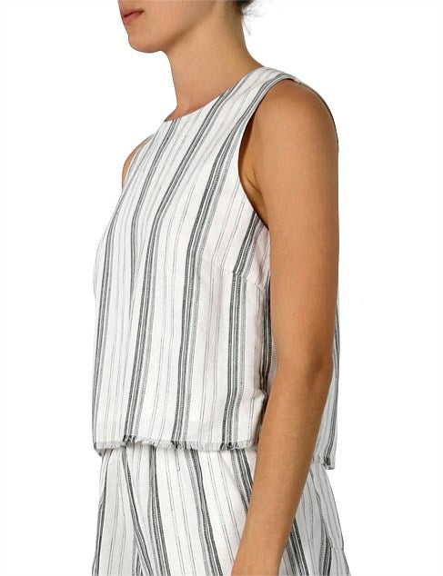 Brooke Linen Stripe Top by Nude Lucy