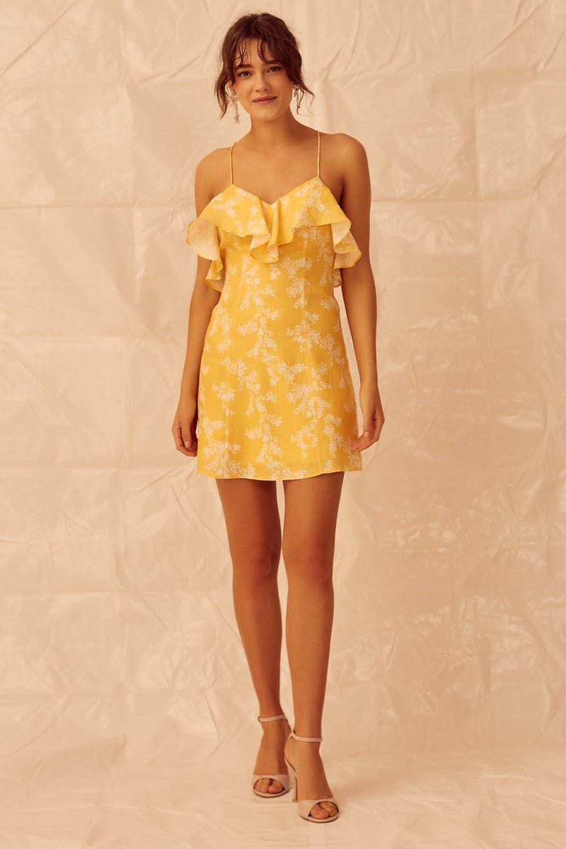 Fallen Mini Dress - Golden Floral Keepsake