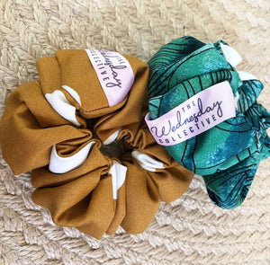 Tropical Palms Scrunchie + Cocospot Scrunchie The Wednesday Collective