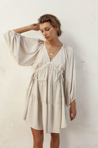 Oleander Smock Dress in Natural Linen Blend by Bird and Kite