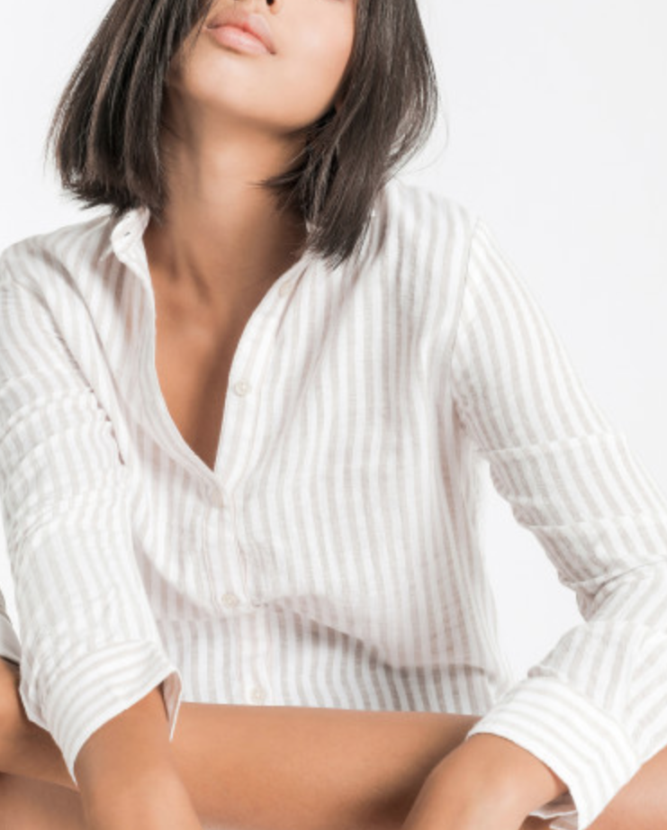 Classic Nude Shirt - Stripe - Nude Lucy