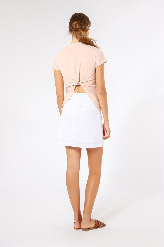 Dakota Twist Back Tee in nude pink by Nude Lucy