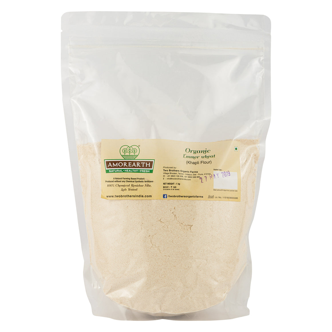Khapli Wheat Flour (Emmer Long Wheat) - 1 kg pack