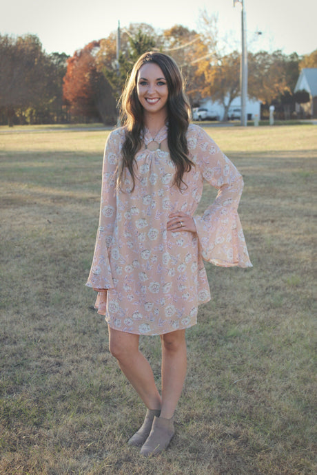 floral cutout bell sleeve dress