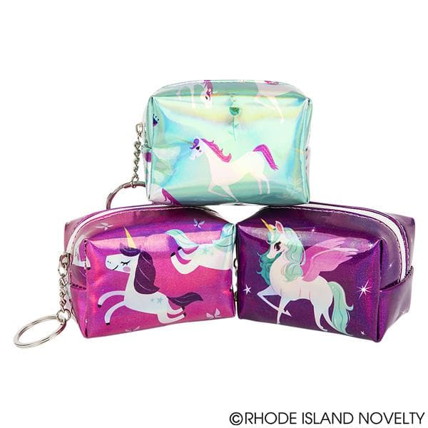 "3.75"" Metallic Unicorn Coin Purse Keychain Assorted Styles"