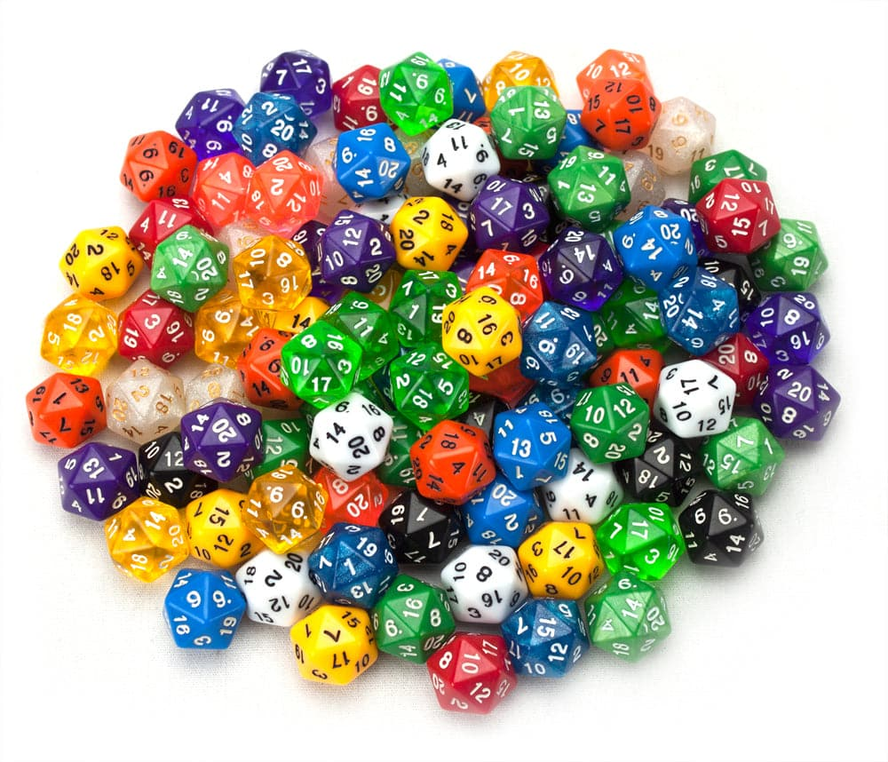 100+ Pack of Random D20 Polyhedral Dice in Multiple Color - Legacy Toys