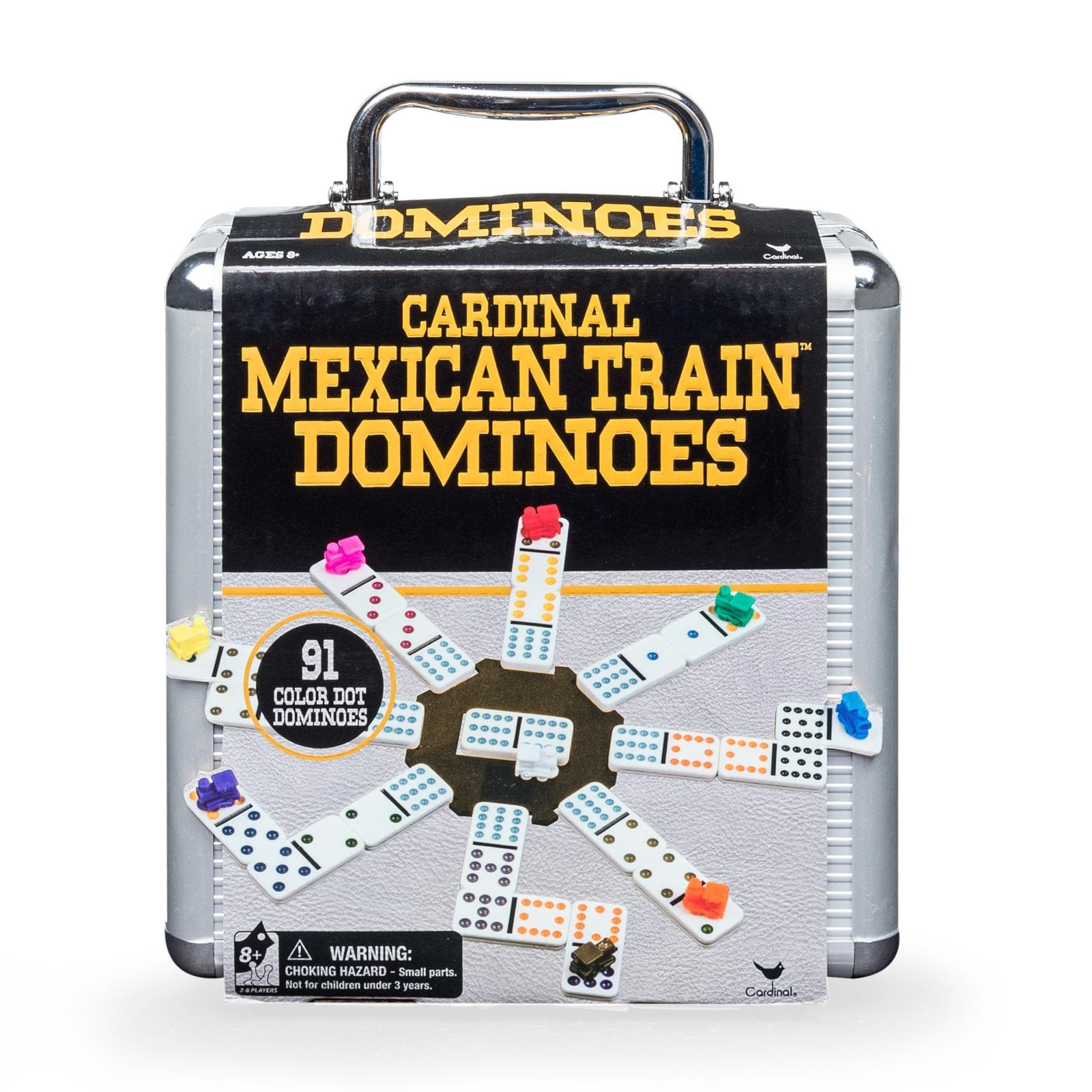 Mexican Train Dominoes in Aluminum Carry Case