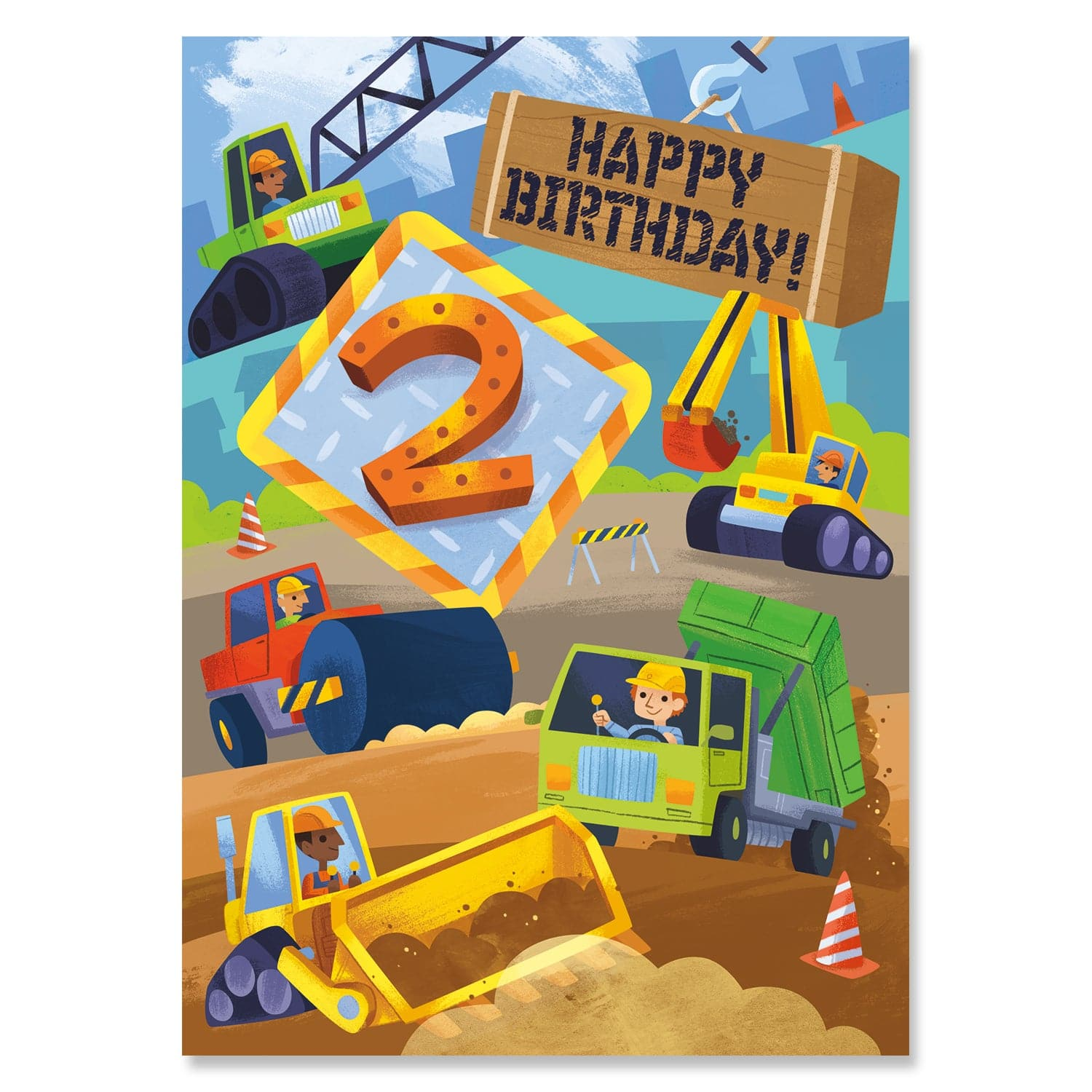 Giant Sticker Birthday Cards Age 2 Construction Truck