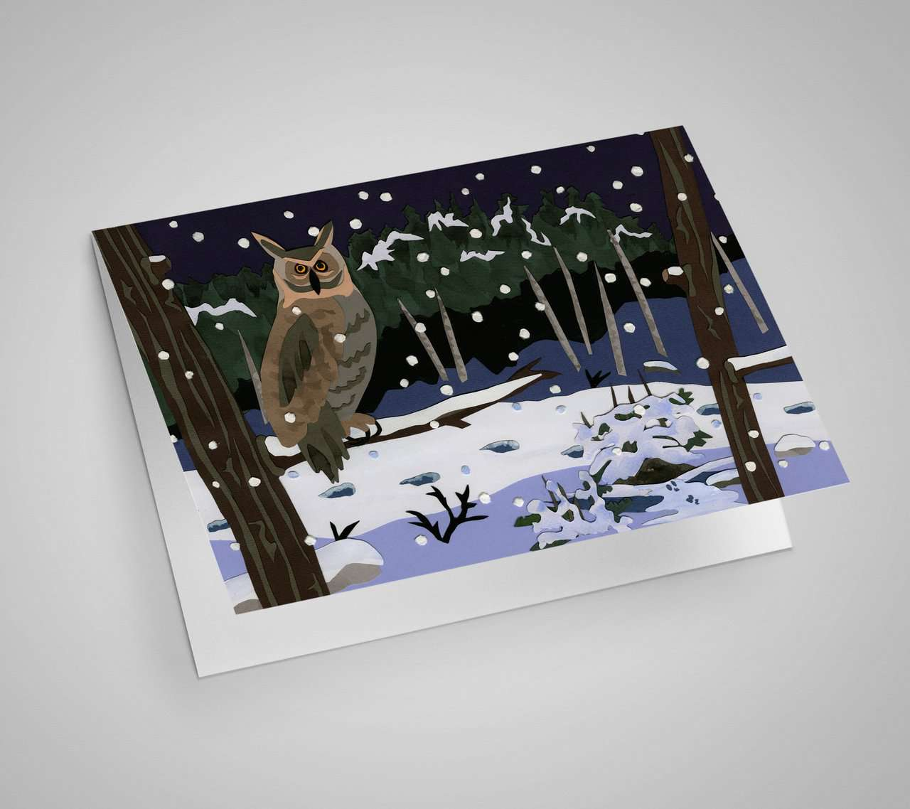 Owl in Snow Notecard