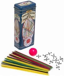 Pick Up Sticks and Jacks with a Ball in a hinged lid Black and Gold Tin