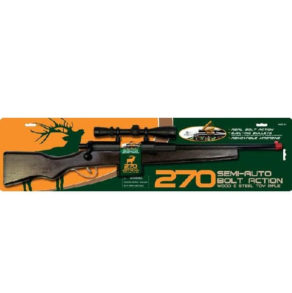 "Replicas by Parris Kids 270 Camo Bolt Action Rifle, includes 28"" Long Solid Wood Rifle and Magazine with 4 Imitation Bullets - Legacy Toys"