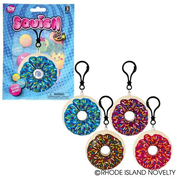 "The Toy Network 2.75"" Squishy Backpack Clip - Donut - Legacy Toys"