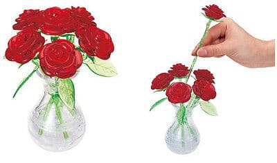 3D Crystal Puzzle - Red Roses in a Vase - Legacy Toys