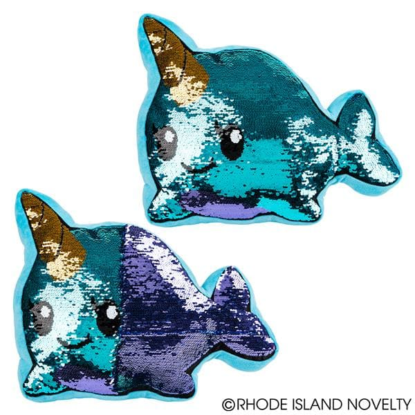 "16"" Plush Flip Sequin Narwhal Pillow"