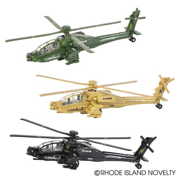 "8"" Diecast Pull Back Apache Helicopter - Assorted Styles - Legacy Toys"