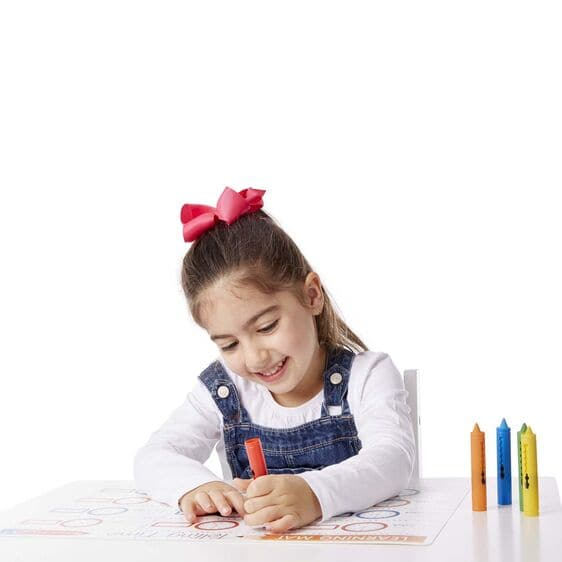 Learning Mat Wipe Off Crayons - 5 Colors