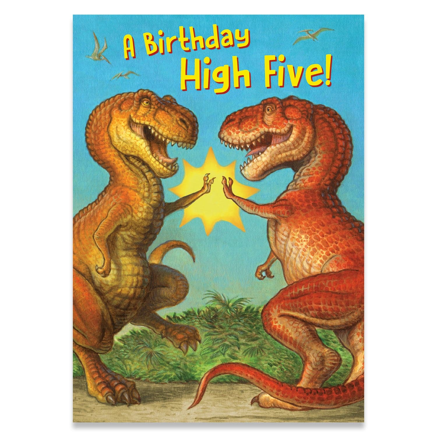 Birthday Cards Dinosaur High-Five