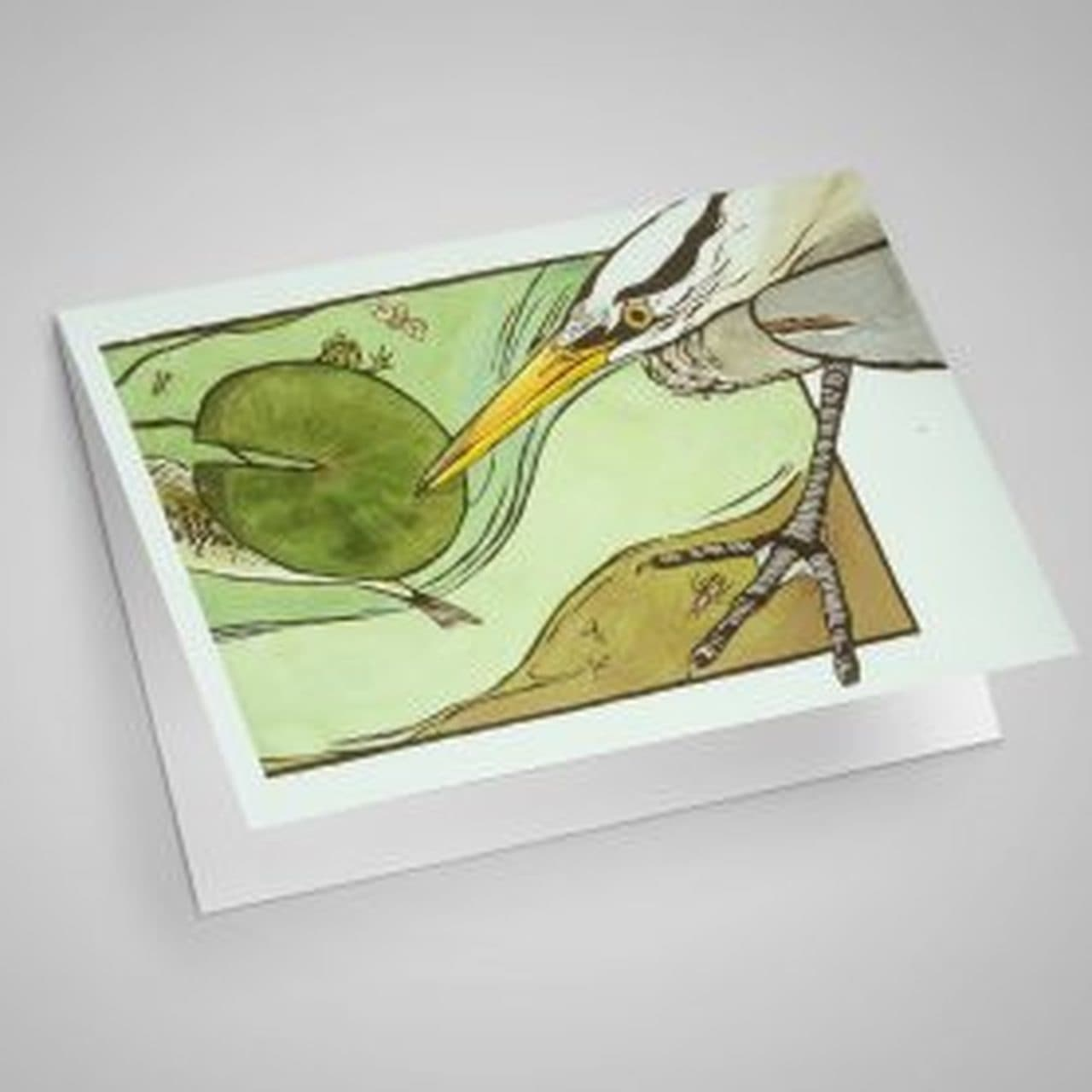 Great Blue Heron over Lilypad Blank Card